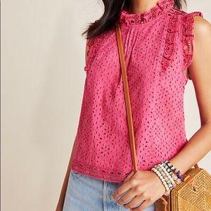 Anthropologie Maeve raspberry eyelet blouse size 2
